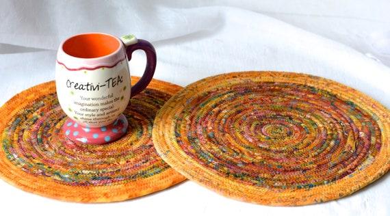 Fall Place Mats, Trivet Set, 2 Autumn Place Mats, 2 Handmade Hot Pads, Table Mats, Rope Potholders, Indian Corn Batik Mug Rugs