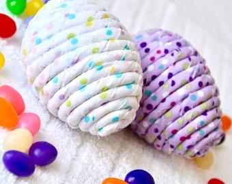 Easter Egg Ornaments, 2 Handmade Easter Egg Decoration, Bowl Filler, Easter Egg Hunt, 2 Hand Coiled Fiber Easter Eggs, Fabric Eggs