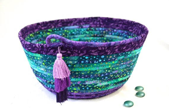 Teal Batik Basket, Handmade Bread Basket, Boho Bowl, Jade and Purple Fabric Basket,  Unique Fiber Basket, Artisan Coiled Bowl