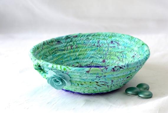 Turquoise Batik Basket, Handmade Ring Dish, Bath Soap Basket, Cute Desk Accessory, Candy Bowl, Gorgeous Batik Key Tray,