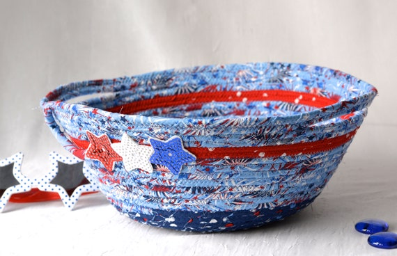 Memorial Day Home Decor, Pool Party Decoration, Patriotic Cookie Basket, Red White and Blue Bowl, 4th of July Decoration, Picnic Basket