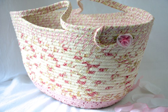 Pink Tote Bag, Picnic Rope Basket, Shabby Chic Handled Basket, Knitting Project Bag, Handmade Quilted Basket, English Garden Home Decor