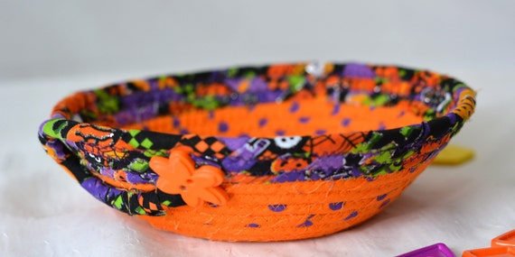 Potpourri Holder Bowl, Handmade Coiled Bowl, Halloween Fabric Basket, Cute Desk Accessory Basket, Orange Change Coin Dish, Ring Dish, Coiled