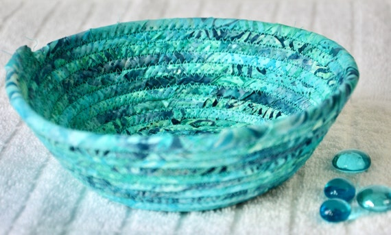Turquoise Batik Basket, 1 Handmade Boho Coiled Bowl, Cute Candy Dish, Aqua Blue Fabric Bowl, Key Change Bowl, Bling Ring Dish