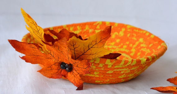 Boho Fall Bowl, Orange Rope Basket, Bohemian Key Holder, Fall Candy Corn Bowl, Halloween Decor, Cute Desk Accessory Basket