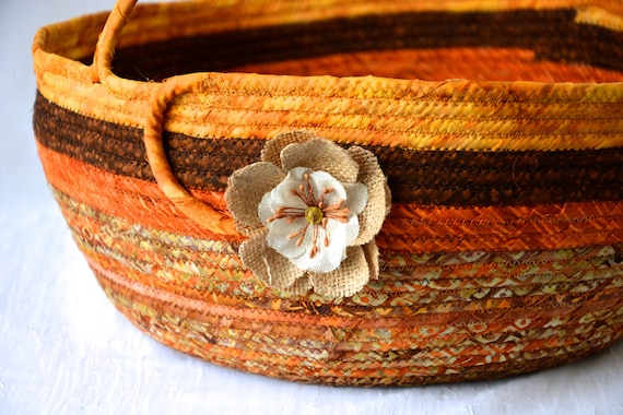 Fall Bolga Basket, Handmade Textile Art Basket, Coiled Rope Basket with handle, Autumn Harvest Fabric Bin, Country Chic Basket