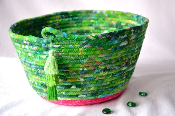 Green Mail Bin, Handmade Bread Basket, Boho Fruit Bowl, Unique Fabric Basket, Batik Fiber Napkin Holder, Remote Control Bin