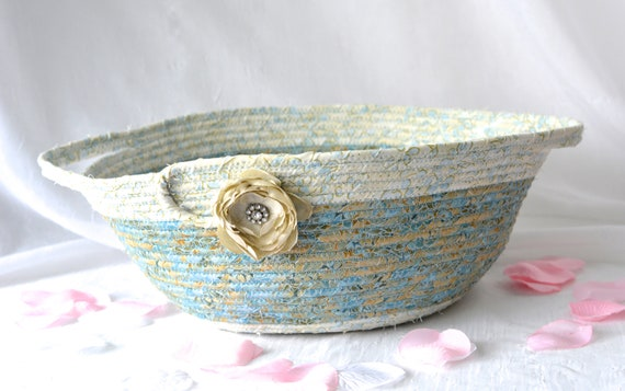 Elegant Blue Basket, Handmade Designer Bowl, Gold and Blue Gift Basket, Rope Bowl, Coiled Fabric Basket, handles, Bathroom Decoration