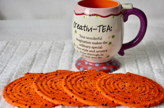 """Orange Fabric Coasters, Set of 4, 4"""" Handmade Coiled Rope Mug Rugs, Cute Table Mats, Quilted Hot Pad"""