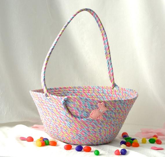 Pink Flower Girl Basket, Handmade Easter Bucket, Wedding Basket, Glitter Girl Easter Basket, Easter Decoration, Rope Coiled Basket