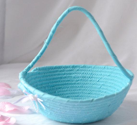 Flower Girl Basket, Handmade Blue Wedding Card Basket,  Blue Wedding Decor, Bridal Shower Gift, Bahama Blue Gift Basket