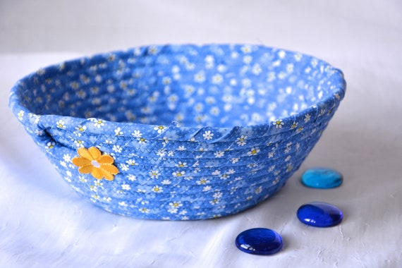 Summer Daisy Bowl, Handmade Picnic Basket, Blue Mail Holder, Country Bread Basket, Napkin Holder, Eyeglass Key Bowl