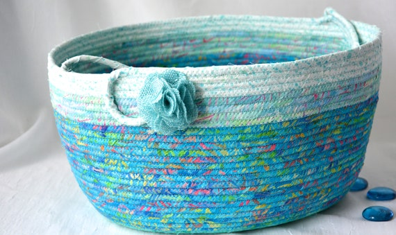 Aqua Bolga Basket, Storage Container, Handmade Coiled Rope Basket with handle, Country Chic Fabric Bin, Cottage Textile Art Basket