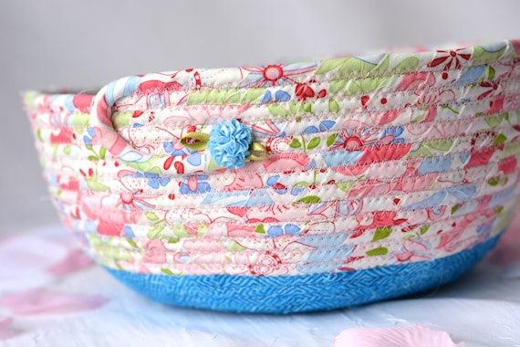 Pretty Pink Basket, Handmade Shabby Chic Bowl, Floral Bath Basket, Makeup Organizer, Girls Room Decor, Pink coiled fabric basket