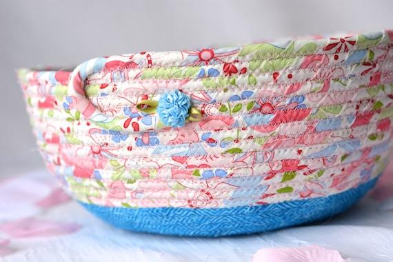Pretty Pink Basket, Handmade Shabby Chic Bowl, Floral Bath Basket, Makeup Organizer, Girls Room Decor, Pink coiled fabric basket