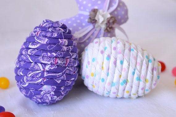 Fabric Egg Ornaments, 2 Handmade Easter Egg Decoration, Bowl Filler, Easter Egg Hunt, 2 Hand Coiled Fiber Easter Eggs, Fabric Eggs