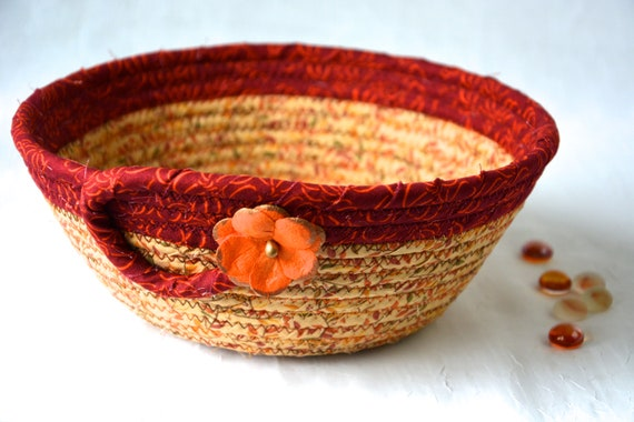 Fall Candy Bowl, Burnt Orange Fabric Basket, Desk Accessory Basket, Halloween Change Dish, Coin Holder, Fall Halloween Decoration