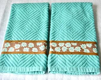 Aqua Kitchen Towels, Set of 2, Aquamarine Home Decor, 2 Hand Decorated Towels, Set of Two Cotton Turquoise Tea Towels, Aqua Dish Cloths