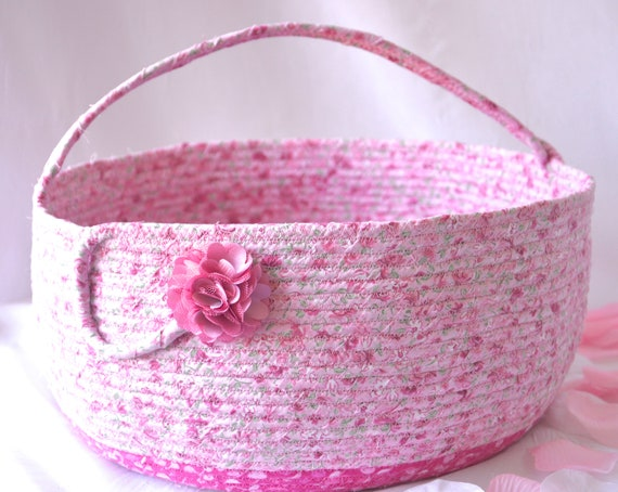 Beautiful Bolga Basket, Storage Container, Handmade Textile Art Basket, Designer Rope Basket with handle, Mauve Pink Chic Fabric Bin
