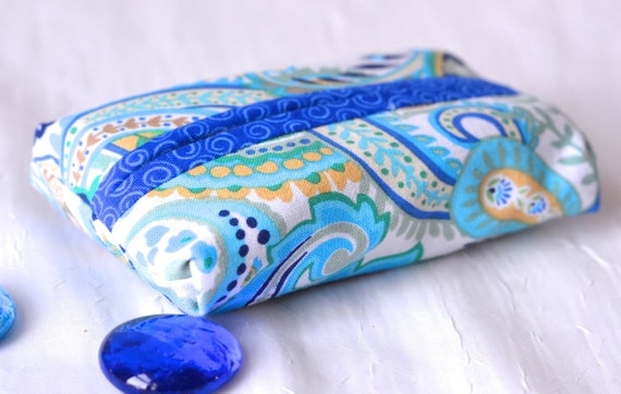 Stocking Stuffer, Kleenex Pocket Tissue Holder, Handmade BlueTravel Tissue Case, Pretty Purse Accessory, Toiletry Case