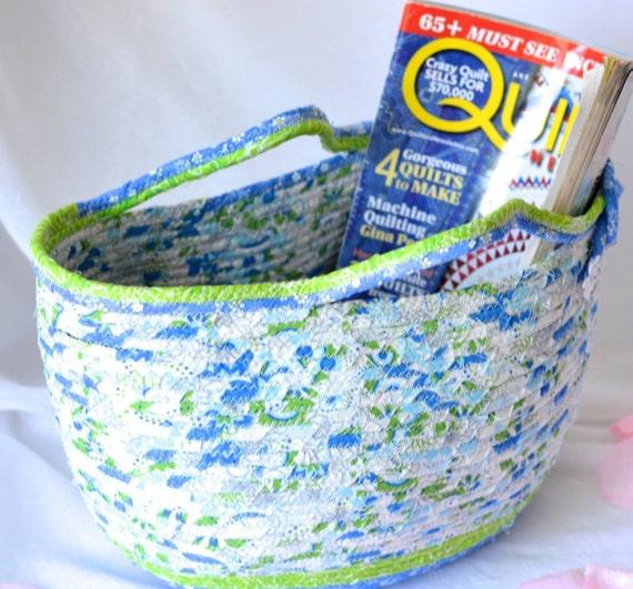 Spring Tote Basket, Handmade Coiled Fiber Basket with handles, Lovely Sky Blue Tote Bag, Knitting Project Bag, Easter Basket, Storage Basket