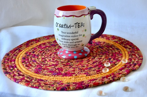 "Fall Place Mat, 1 Handmade Thanksgiving Trivet, 12"" Table Mat, Beautiful Potholder, Table Topper, Autumn Hot Pad, Orange Red Place Mat"