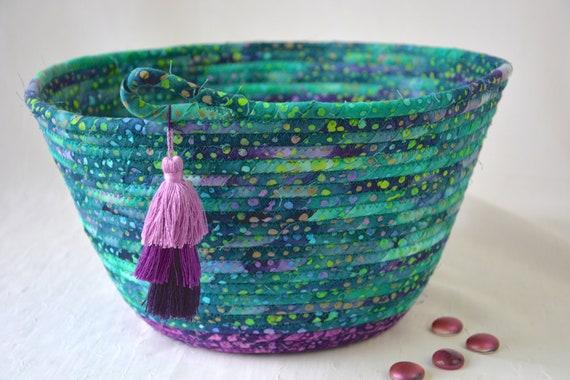 Teal Batik Basket, Handmade Bread Basket, Boho Bowl, Jade and Purple Fabric Basket,  Unique Fiber Basket, Artisan Coiled Bowl
