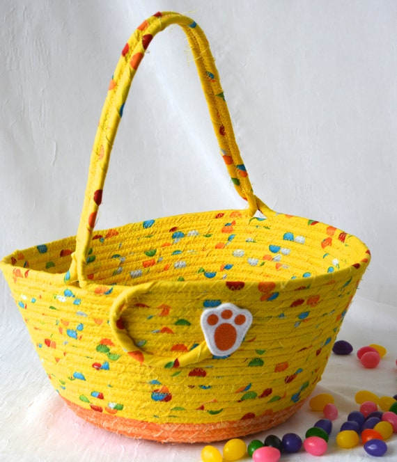 Boy Easter Basket, Handmade Easter Bucket, Yellow Easter Home Decor Bowl, Cute Toy Holder, Child Book Bin, Kid Crayon Holder, Free Name Tag