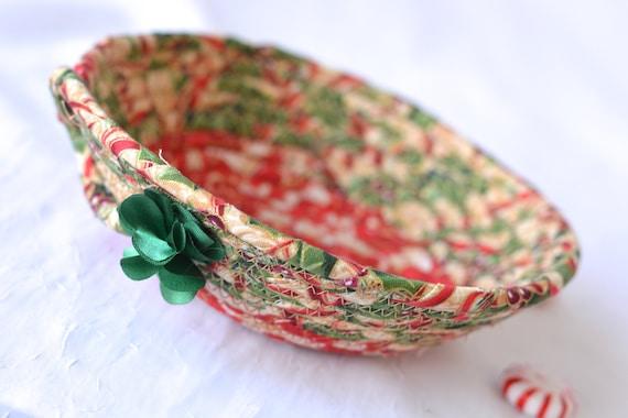 Holly Candy Dish, Handmade Fabric Basket, Cute Potpourri Holder, Key Bowl, Textile Art Basket, Holiday Decor, Ring Dish Tray
