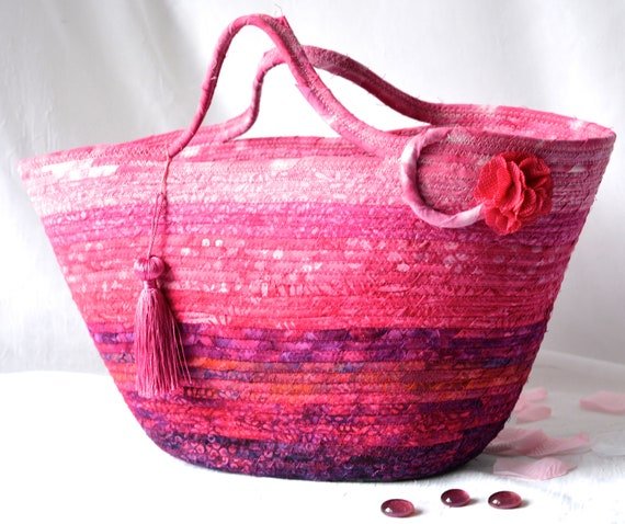 Pink Beach Basket, Handmade Fiber Art Purse, Lovely Batik Picnic Tote Bag, Laptop Case, Unique Gift Basket, Coiled Moses Basket