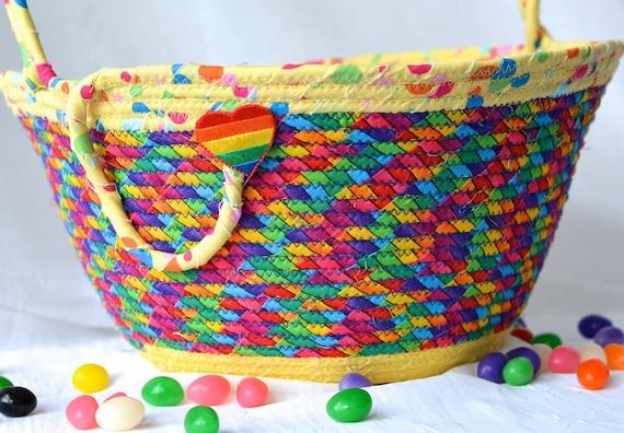 Rainbow Easter Basket, Handmade Kid's Basket, Artisan Quilted Bowl, Easter Decoration, Whimsical Boy Easter Bucket, Fun Easter Decor