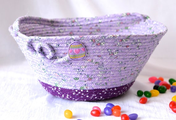 Girl Easter Basket, Handmade Flower Girl Basket, Lavender Easter Decor, Purple Easter Decoration, Baby First Violet Easter Bucket