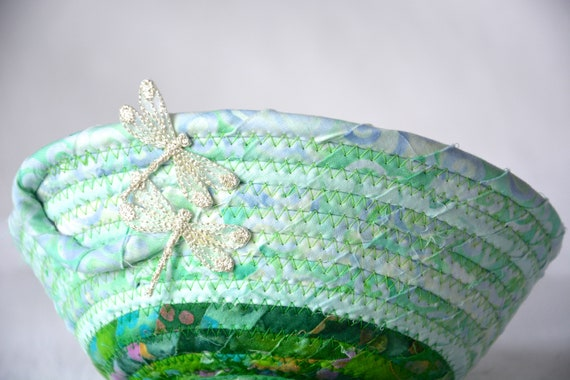 Summer Dragonfly Basket, Handmade Batik Bowl, Country Candy Dish, Green Home Decor, Desk Bowl, Coiled Change Bowl, Bling Ring Dish