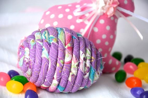 Violet Easter Egg, Handmade Easter Egg Decoration, Pretty Basket Stuffer, Hand Coiled Fiber Easter Egg,  Fabric Easter Egg