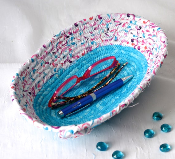 Blue Desk Basket, Remote Control Bin, Pretty Phone Holder, Handmade Brush Holder, Eyeglasses Basket, Blue Bathroom Bowl