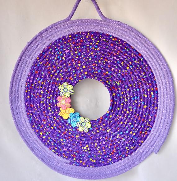 Spring Door Wreath, Cute Wall Hanger, Purple Wall Art, Artisan Quilted Wreath, Handmade Lavender Home Decor, Cute Dot Door Decoration