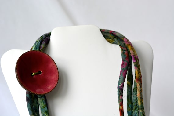 Fall Batik Necklace, Handmade Olive Fiber Jewelry, Multi Strand Infinity Necklace, Green Skinny Trendy Fabric and RopeWrap