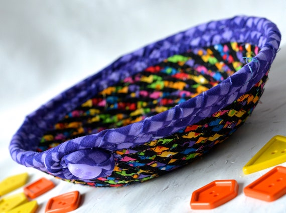 Halloween Candy Dish, Fall Key Basket, Handmade Rope Bowl, Purple Gift Basket, Artisan Quilted Ring Dish Bowl, Change Basket
