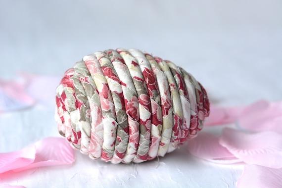 Easter Egg Ornament, Handmade Pink Easter Egg Decoration, Shabby Chic Bowl Filler, Easter Egg Hunt, Hand Coiled Fiber Easter Egg