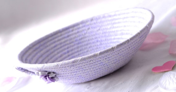 Violet Fabric Basket, Handmade Lavender Bowl, Cute Ring Dish, Desk Accessory Basket, Violet Pantone Artisan Quilted Bowl