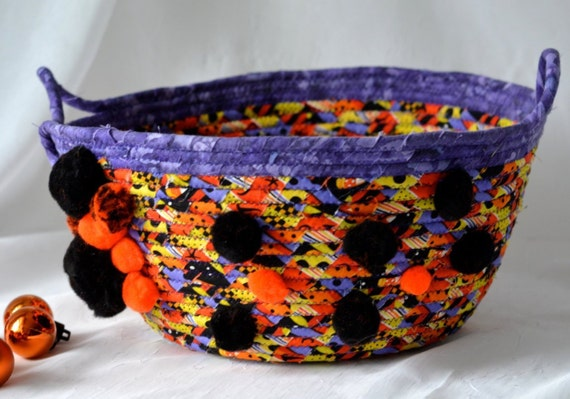Halloween Decoration, Candy Bucket, Handmade Fall Decorative Bowl, Toy Organizer, Storage Basket, Orange Fall Decoration
