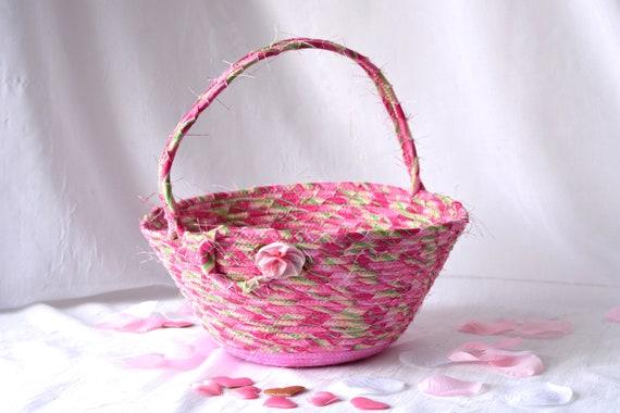 Elegant Easter Basket, Pink Flower Girl Basket, Handmade Easter Bucket, Wedding Basket, Girl Easter Bucket, Easter Decoration