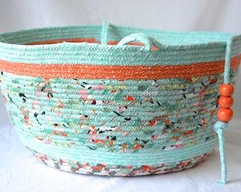 Nursery Toy Basket, Handmade Quilted Organizer, Cute Stuffed Animal Bin, Baby Hamper, Green and Grey Bathroom Storage Basket