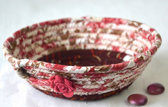Shabby Chic Basket, Handmade Pink Bowl, Floral Ring Dish, Key Organizer, Cute Desk Accessory, English Garden Gift Basket