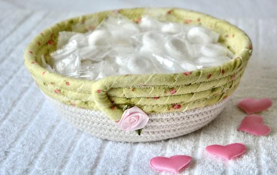 Green Potpourri Basket, Handmade Key Bowl, Sweet Rose Bud Ring Dish, Beige Rope Bowl, Cute Desk Accessory, Candy Dish, Gift Basket