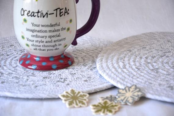 Silver Christmas Mats, Snowflake Table Decor, Winter White Trivet Set, 2 Handmade Coiled Hot Pads, Place Mats, Potholders