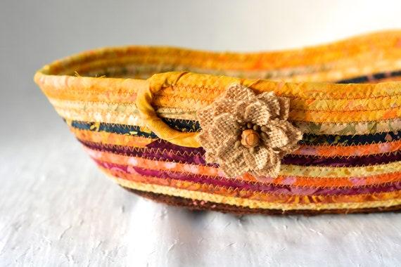 Earth Tone Fruit Bowl, Country Batik Basket, Handmade Bread Basket, Rustic Desk Accessory, Key Bowl, Potpourri Bowl, Quilted Rope Basket