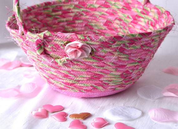 Flower Girl Basket, Handmade Magenta Basket, Handled Girl Easter Bucket, Elegant Spring Decoration, Pretty Teen Basket