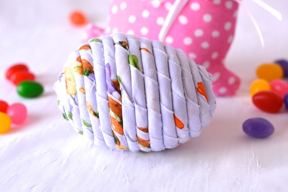 Fabric Easter Egg, Handmade Violet Easter Decoration, Lavender Easter Egg, Cute Easter Basket Filler, Easter Egg Hunt Egg, Artisan Coiled