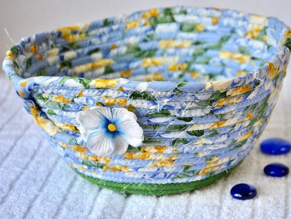 Spring Napkin Holder, Blue Fruit Bowl, Shabby Chic Key Basket, Handmade Potpourri Basket, Remote Control Bin, Mail Desk Accessory